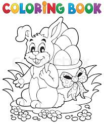 coloring book easter bunny 1 eps10 vector ilration vector