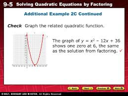 9 5 solving quadratic equations by factoring additional example 2c continued check graph the