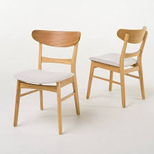 idalia mid century fabric dining chair set of by christopher knight home light beige in natural oak finish