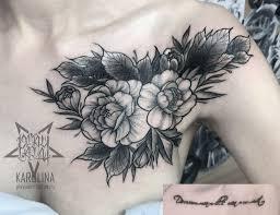 перекрытие надписи цветы в вип шейдинге на ключице сделать тату у