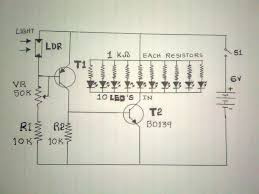 circuit of a automatic simple emergency light using led and ldr