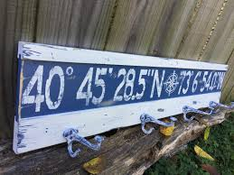 Personalized Family Coat Rack Personalized latitude longitude coat rack signcustom longitude 60