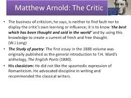 the study of poetry matthew arnold matthew