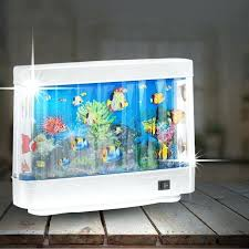 Decoration: Small Fish Tank Table Lamp Living Aquarium Jellyfish Artificial