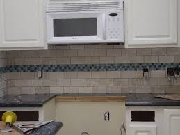 Kitchen Backsplash White Subway Tile with Blue Accent Tiles Accent
