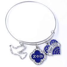 double nose clear and blue crystal finer 1920 zeta phi beta dove sorority gift bangles bracelets