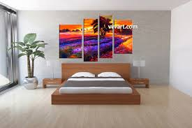bedroom decor 4 piece wall art oil canvas arts scenery multi panel art on big wall art for bedroom with 4 piece orange canvas oil paintings landscape sunrise large pictures