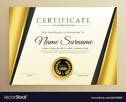 Premium Certificate Template Design With Golden