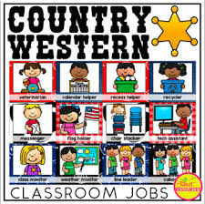 Classroom Monitors Chart Classroom Jobs Clip Chart In A Country Western Classroom Decor Theme