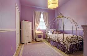 Two Tine Purple Girls Bedroom With Canopy Bed And White Furniture