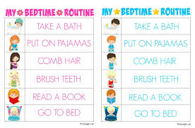 Bedtime Chart For Adults Printable Bedtime Routine Charts Bitz Giggles