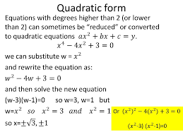 4 quadratic form equations with degrees