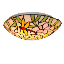 16 style stained glass dragonfly ceiling lamp 3 lights european vintage dining room bedroom flush mount light lighting