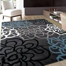 contemporary gray area rug with fl flowers black and light blue grey rugs furniture of america dining table best
