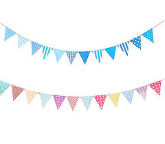Pink Banners 2019 Wholesale Blue Pink Paper Board Bunting Pennant Flags Banner Garland For Baby Shower Birthday Party Decoration Kids Room Decoration From