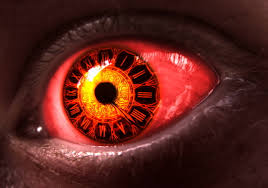 Red eye, eyes, clocks, digital art ...