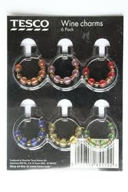 new unused tesco set of 6 wine glass charms with beads