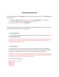 Sponsorship Contract Template Enchanting Sponsorship Agreement Free Download