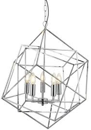 cube 5 light geometric pendant ceiling light polished chrome