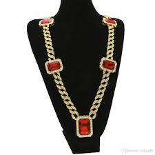 whole large size men s hip hop necklace gold plated 5 red square ruby pendant 30inch full cz simulation diamond thick miami cuban chain necklace