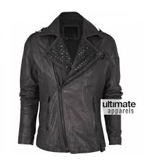 asymmetrical style black rock and roll studded men s leather jacket 165 00