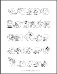 Small Picture Animal Alphabet Coloring Page for Kids Student Handouts