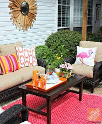 outdoor patio furniture ideas. Patio Decor Ideas: DIY Outdoor Rug, Dark Wicker Furniture And Pink Orange Ideas