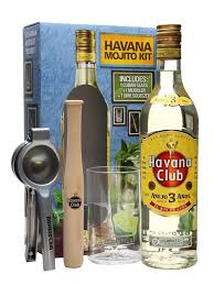 an excellent mojito gift set from havana club conning one bottle of their 3 yerar old rum a cuban gl tumbler a muddler and a lime squeezer