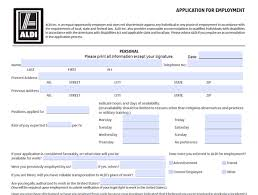 Employment Job Application Form Aldi Application Pdf Print Out