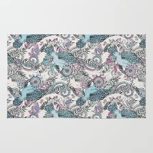 flight of fancy pink teal cream rug by micklyn society6 pink and teal rug