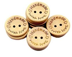 Qingsun <b>100pcs</b> Wood Buttons <b>2 Holes</b> With Love Creamy White ...