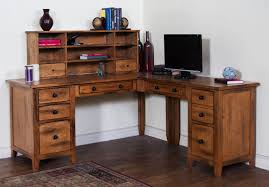 sedona rustic oak wood office desk w hutch to enlarge loading