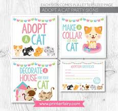 Pet Adoption Certificate Template Pet Adoption Party Cat Adoption Party Kitty Adoption Party
