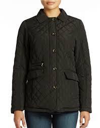 lyst jones new york quilted jacket in black