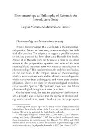 phenomenology as philosophy of research an introductory essay phenomenology and human science research today