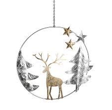 Hängedekoration Mit Hirsch Bäumen Und Sternen Metall Silber Gold Zum Aufhängen ø 605 Cm Weihnachten Winter Fensterdeko Reh Tier Fiedlers Deko Und