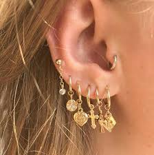 Image result for multiple ear hoops