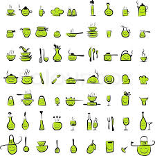 Kitchen utensils characters sketch drawing icons for your design