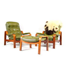 2 Retro Vintage Danish Leather Reclining Lounge Armchair Chair + ...