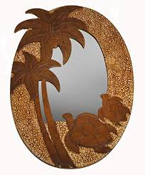 hand carved wood and egg shell palm tree turtle mirror wall art decor on wood palm tree wall art with amazon hand carved wood and egg shell palm tree turtle mirror