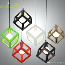 cube pendant lights vintage country style small black cube cage retro pendant lights industrial lighting color cube pendant lights