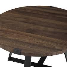 walker edison 30 metal wrap round coffee table dark walnut and black