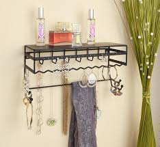 interior: Tiny Necklace Wall Organizer And Black Color Plus Parfume On Top  Part And Some