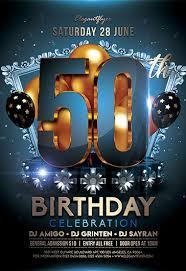 Part Flyer 50th Birthday Party Flyer Psd Template By Elegantflyer