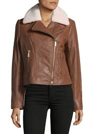 michael michael kors lamb fur trim leather jacket