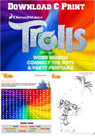 trolls movie printables word search connect the dots and party ticket
