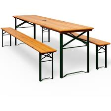 wooden folding trestle table and bench
