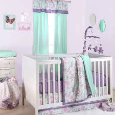 the peanut shell 4 piece baby girl crib bedding set pink purple mint green and grey fl print 100 cotton quilt dust ruffle fitted sheet
