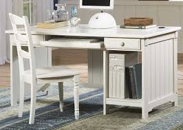 small white writing desk with file storage and chair