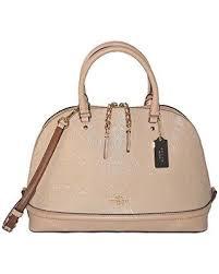 coach sierra dome satchel in signature debossed patent leather f55449  platinum